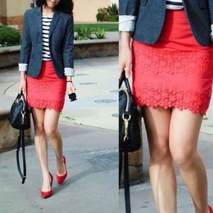 J. Crew Daisy Lace Mini Skirt Reddish Pink 22246 8